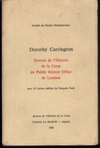livre Dorothy Carrington Sources de l'Histoire de la Corse au Public Record Office de Londres